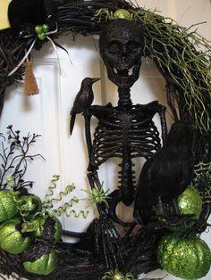 The Black Skeleton  Halloween Wreath