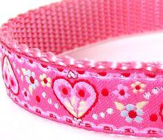 Dainty Hearts Dog Collar / Pink / Valentine's Day by daydogdesigns, $16.00