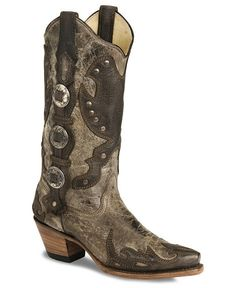 Corral Concho Harness Cowgirl Boots - Snip Toe
