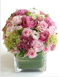 Stunning green and pink bouquet in square vase