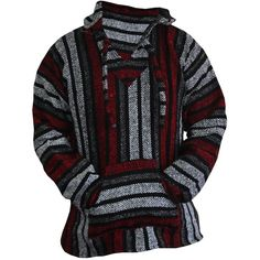Amazon.com: Mexican Baja Hoodie Sweater Jerga Pullover Red Gray... ($29) ❤ liked on Polyvore featuring tops, hoodies, red baja hoodie, hooded pullover sweatshirt, grey pullover hoodie, red hoodies and gray hoodie