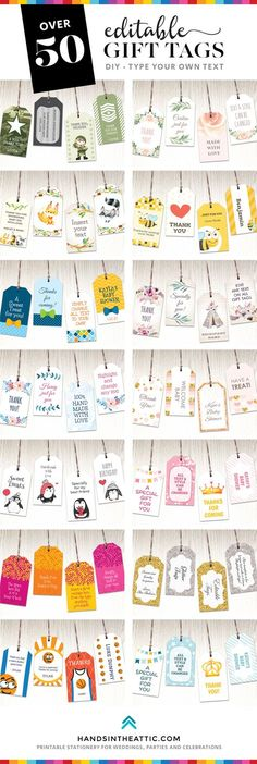 Printable gift tags | Editable baby shower labels | Gift tag templates | DIY | Instant downloads | Birthday party favor tags