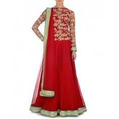 Embellished Red Jacket Style Dress with Stole for Winter Wishlist 2014 - Indian Designer Wear – Indian Ethnic Clothes – Ethnic Dresses of India – Fashion Wear of India - #Style #Gorgeous #Stunning  #Chic – Buy Indian Traditional Dresses for Women Online at #ExclusivelyIn – #Shop Saris, Salwar Kameez, Lengha, Jewelry, Accessories Online for #Holiday #Shopping