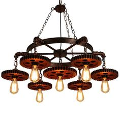 Surpars House Rustic Chandelier Industrial Pendant Light for Restaurant,Bar,Coffee Room - Explore the World of Steampunk Outdoor Chandelier, Chandelier In Living Room, Industrial Pendant Lights, Chandelier Ceiling Lights, Rustic Chandelier, Room Lights, Chandeliers, Industrial Loft, Pendant Lamp
