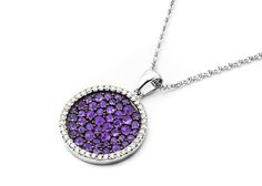 These beautiful purple Amethysts really stand out! How fun. #gem #amethyst #purple #diamonds #sparkle #14K #gold # necklace #pendant #jewelry