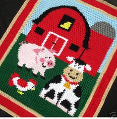 Crochet Patterns Barnyard Farm Animals Afghan Pattern | eBay