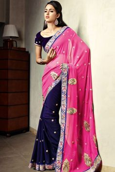 Hot #Magenta and Deep Majorelle #Blue Shimmer Crepe and Chiffon Saree Sku Code:10-4121SA298901 US $ 156.00 http://www.sareez.com/product_info.php?products_id=145883