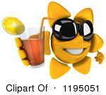Clipart Of A 3d Sun Mascot Wearing Shades And Holding Up Iced Tea Royalty Free CGI Illustration by Julos