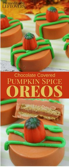You must try this recipe for Chocolate Covered Pumpkin Spice Oreos! These cookies look amazing and have that wonderful pumpkin spice flavor in every bite!