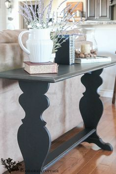 Black Sofa Table Makeover – The Wood Grain Cottage - Modern Sofa Furniture, Unique Furniture, Painted Furniture, Furniture Design, Furniture Market, Furniture Ideas, Eames Dining Chair, Sofa Tables, Couch Makeover