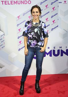 Maria Elisa Camargo poses at the Premios Tu Mundo press conference at American Airlines Arena on August 18 2015 in Miami Florida