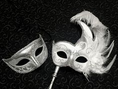Venetian Couple Silver White Masquerade Costume by AntbeesMask Masquerade Wedding, Masquerade Costumes, Venetian, Skull, Trending Outfits, Couples, Unique Jewelry, Handmade Gifts, Silver