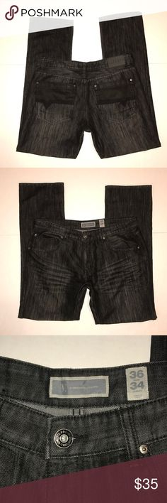 """INC International Concepts Berlin Straight Jeans INC Jeans Size 36x34 in excellent used condition// no rips,stains or pilling// smoke/pet free home  Rise-10""""  inseam-34""""  waist-18""""   Leg opening-8.5""""  Add your liked items to a bundle for a discount offer👕👖 INC International Concepts Jeans Straight"""