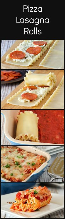 Pepperoni pizza lasagna rolls!