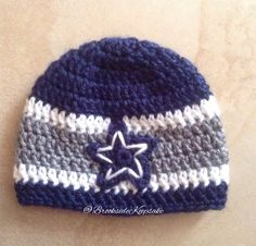 Navy Blue, Heather Grey and White Crocheted Hat inspired Dallas Cowboys Football Team, newborn, child, adult size - Gift Idea - Winter Hat by BrooksideKeepsake on Etsy