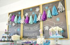 purple, metallic silver hot pink, teal, and aqua frozen themed tissue paper tassel garland party by ohtobehappy on Etsy https://www.etsy.com/listing/212620250/purple-metallic-silver-hot-pink-teal-and