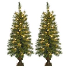 3-5-ft-Christmas-Tree-Artificial-Pre-Lit-Clear-Lights-Green-Set-Of-2-Holiday-New