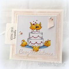 Bellarific Friday June 23 2017- Rubber stamp: Wedding Cake Chicks. Card by Sandie Dunne