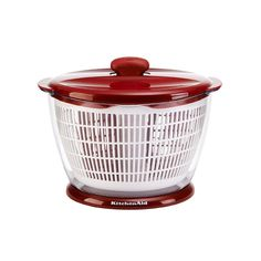 This KitchenAid Classic Red Salad Spinner features a one step pump mechanism to spin away excess moisture from your lettuce and other vegetables. The quick stop brake system allows you to simply push
