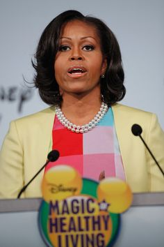 Michelle Obama Photo - Michelle Obama And Disney CEO Robert Iger Hold News Conference On Disney's Nutritional Guidelines
