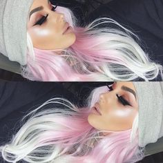 Trendy Hair Highlights Picture Description Match your highlight to your hair… Glow Kit in Sweets Lipstick is Child Star from Eyes are /morphebrushes/ ✨✨ - Ombre Hair, Pink Hair, Blonde Pink, White Hair, Pelo Multicolor, Pinterest Hair, Grunge Hair, Mermaid Hair, Dream Hair