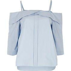 Light blue placket cold shoulder top