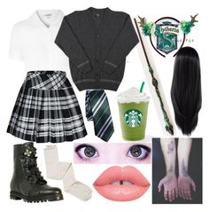 """Slytherin Pride"" by dappershadow ❤ liked on Polyvore featuring Glamorous, Jimmy Choo, Intimately Free People, Lime Crime and myhogwartshouseentry"
