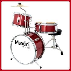 Mendini by Cecilio 13 Inch 3-Piece Kids / Junior Drum Set with Adjustable Throne, Cymbal, Pedal & Drumsticks, Metallic Bright Red, MJDS-1-BR - Fun stuff and gift ideas (*Amazon Partner-Link)