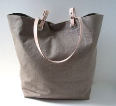 Tote Bag Taupe Linen with Brown Leather by IndependentReign, $104.00
