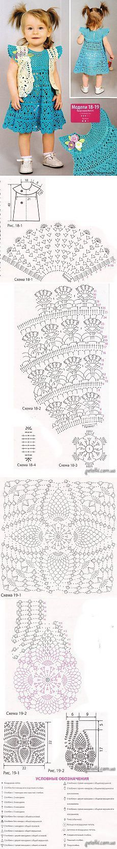 Free Graphics Crochet Patterns - Crochet Patrones Gráficos Gratuitos: Vestidito de Niña Crochet color turqueza