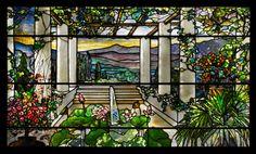 Tiffany Studios (American, est. 1902). Garden landscape window, 1900-10. Leaded glass, 37 x 65 ½ x 5 ½ in. Photograph by John Faier, © The Richard H. Driehaus Museum.