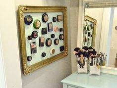 DIY Magnetic Make Up Board | Click Pic for 25 DIY Small Apartment Decorating Ideas on a Budget | Organization Ideas for Small Spaces
