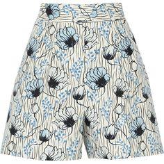 Bottega Veneta Printed cotton shorts ($315) ❤ liked on Polyvore featuring shorts, white, white cotton shorts, high waisted cotton shorts, loose high waisted shorts, high rise shorts and colorful shorts