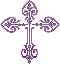 Decorative Scroll Cross Embroidery Design