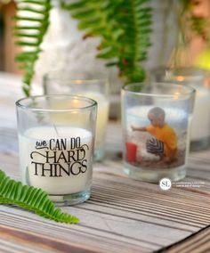 Tape Transfers DIY Photo Candle Votives #michaelsmakers