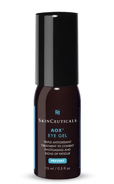 SkinCeuticals AOX+ Eye Gel  This breakthrough serum-in-a-gel contains a synergistic antioxidant combination to help protect the delicate eye area from oxidative stress, while targeted actives revive under-eye skin and helps reduce the appearance of puffiness.