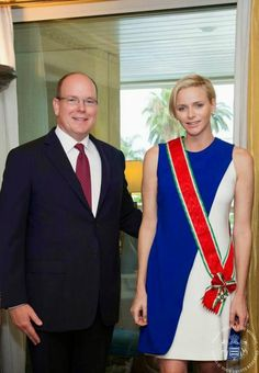 """29 JULY 2014 Princess Charlene of Monaco has received the highest honor of the Italian Order """"Stella d'Italia"""" This decoration was awarded at the presence of the Prince Albert II of Monaco and the Ambassador of Italy in Monaco during a ceremony at the Embassy."""
