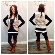 THIS VEST<3 <3 this is one timeless piece you need in your wardrobe. Keep it simple with a solid colored top, or put an adorable flannel underneath that's always in season.  Vest $60