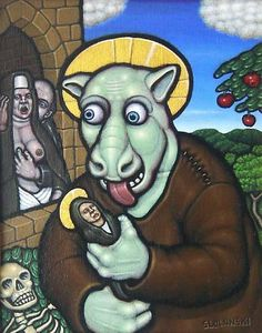 It is with great humor and irony that Tim Slowinski depicts our society. His surrealist painting carries a very nice touch of icon and medival style, I love it!