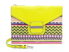 Neon yellow isn't going anywhere - here are over a dozen bright pieces for spring. Yellow Purses, Buy Bags, Printed Bags, Green Bag, Neon Yellow, Clutch Wallet, Evening Bags, Clutches, Purses And Bags