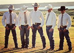 Jeans, white shirts, ties and cowboy hats: Classy western wedding wear for men. #westernwedding #countrywedding #cowboyhat