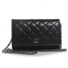 This is an authentic CHANEL Caviar Wallet on Chain WOC in Black. This is a large size wallet and is crafted beautifully of signature diamond quilted black caviar leather.