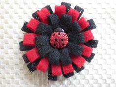 Lady Bug Loopy Felt Flower Alligator clip by lovekisses3 on Etsy, $4.00