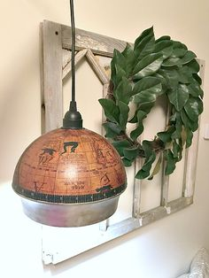 Globe ice bucket light by Homeroad, featured on Funky Junk Interiors Vintage Industrial Lighting, Rustic Lighting, Lighting Ideas, Home Improvement Projects, Home Projects, Do It Yourself Decorating, Decorating Ideas, Bucket Light, Vintage Light Fixtures