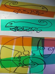 love this idea. For Eric Carle day, make a transparency of the Chameleon and place all over classroom.
