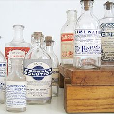 Antique medicine bottles are a fun one to collect. But look out for any with a white powdery texture on them. These are mineral deposits from being underground for many years. Trust me, they do NOT clean off!