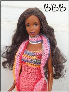 Crochet Barbie Clothes Coral Spaghetti by BarbieBoutiqueBasics