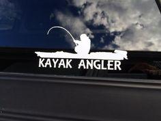 Vinyl kayak angler decal kayak angler sticker by StatusGraphics Sup Fishing, Fly Fishing Rods, Gone Fishing, Fishing Boats, Fishing Stuff, Kayaking Gear, Kayak Camping, Canoe And Kayak, Canoeing