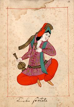 "Woman with a vase and goblet  ""Turka sentata (i.e. seduta)"".  The 'Rålamb Costume Book' is a small volume containing 121 miniatures in Indian ink with gouache and some gilding, displaying Turkish officials, occupations and folk types. They were acquired in Constantinople in 1657-58 by Claes Rålamb who led a Swedish embassy to the Sublime Porte, and arrived in the Swedish Royal Library / Manuscript Department in 1886."
