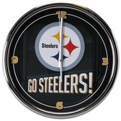 Pittsburgh Steelers Go Team Chrome Wall Clock